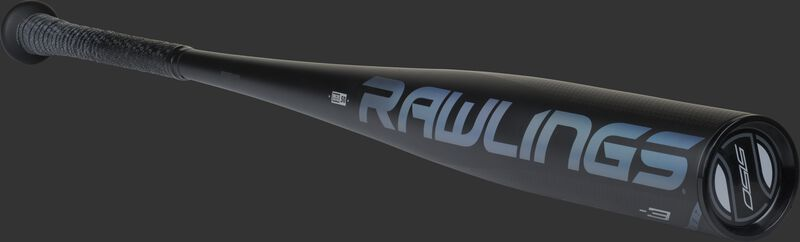 Angled view of a black 5150 bat with a black end cap - SKU: BB153