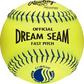 A yellow C11BYLUC USSSA official 11-inch softball with blue stitching image number null