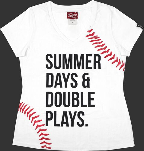 Front of Rawlings Women's Summer Day & Double Plays T-Shirt - SKU #RA30000-100