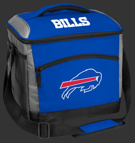 A blue Buffalo Bills 24 can soft sided cooler with screen printed team logos - SKU: 10211061111