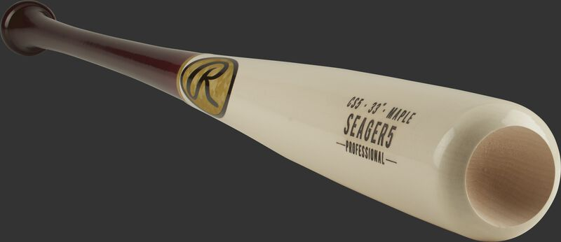 3/4 view of a CS5PL maple Corey Seager bat with a white barrel