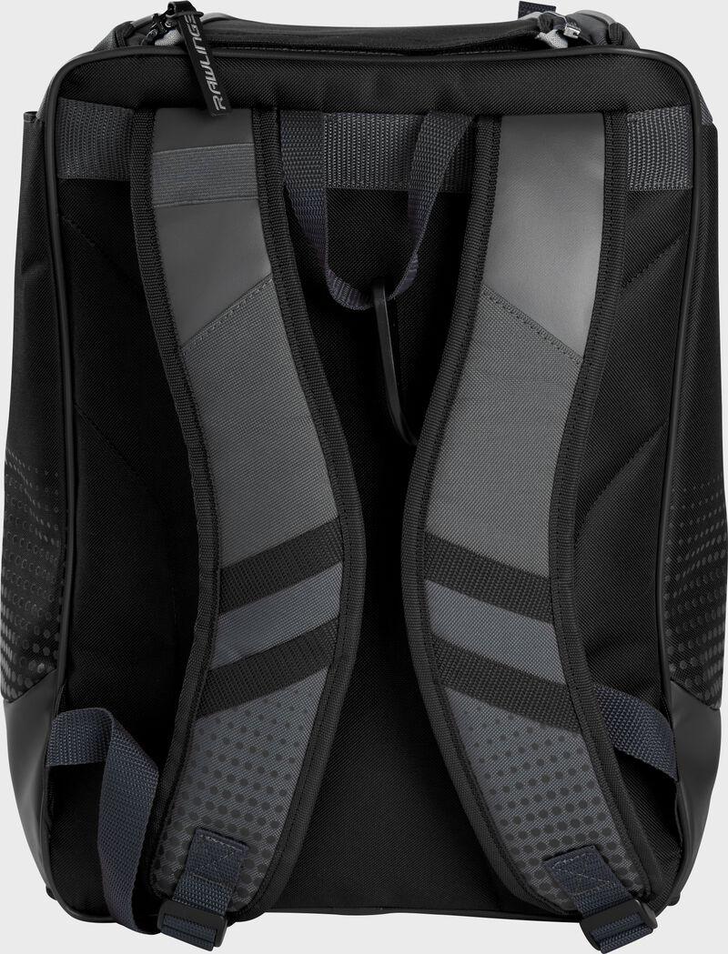 Back of a black Rawlings Franchise backpack with gray shoulder straps - SKU: FRANBP-B