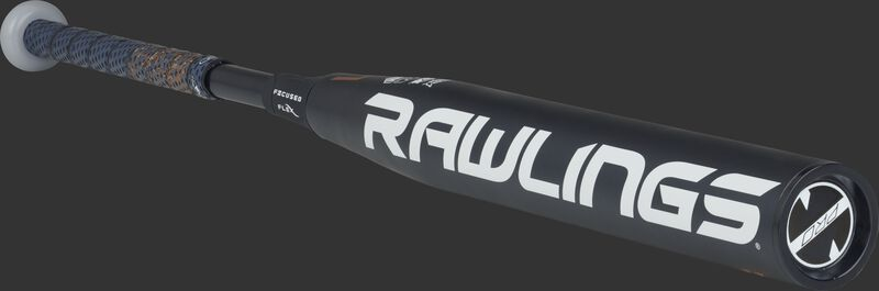 3/4 view of a FPZP11 Rawlings fastpitch softball bat with a black barrel and black end cap