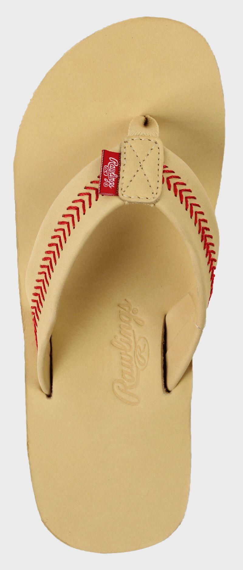 Women's Baseball Stitch Nubuck Leather Sandals