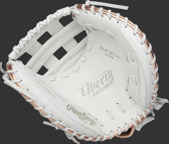 White palm of a Rawlings Liberty Advanced catcher's mitt with white laces - SKU: RLACM33RG