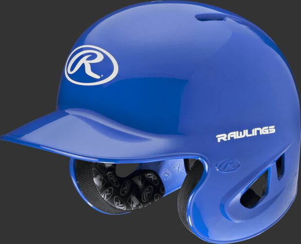 A royal S90PA RPR high schoole/college batting helmet with a white Oval R logo on the front