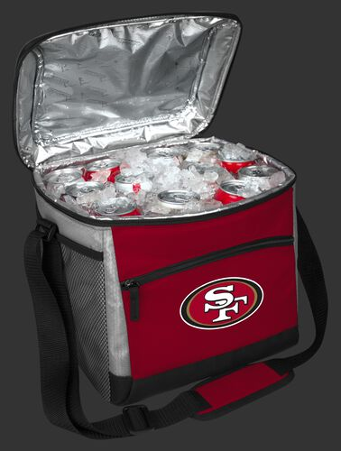 An open San Francisco 49ers 24 can cooler filled with ice and drinks - SKU: 10211084111