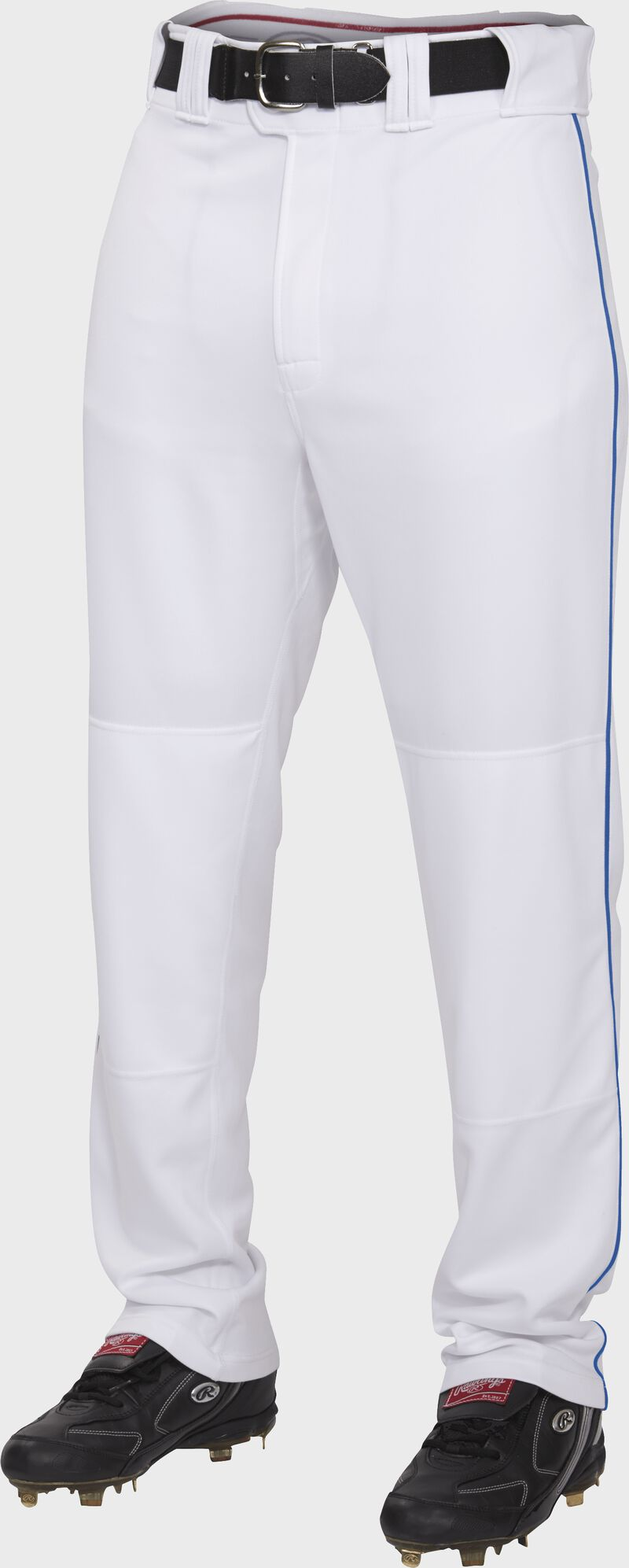 Front of Rawlings White/Royal Adult Semi-Relaxed Piped Pant - SKU #PRO150P-W/R