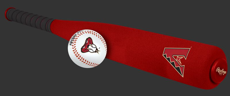 Side of Rawlings Arizona Diamondbacks Foam Bat and Ball Set in Team Colors With Team Name and Logo On Front SKU #01860010111
