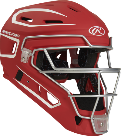 Front right of a scarlet CHV27J Rawlings Velo 2.0 catcher's helmet