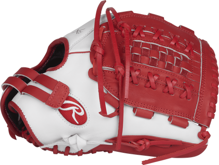 RLA125-18WS Liberty Advanced Color Series 12.5-inch fastpitch glove with a white thumb and scarlet Double-Laced Basket web