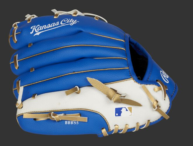 Back of a blue/white Kansas City Royals 10-inch youth glove with the MLB logo on the pinky - SKU: 22000026111