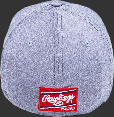 Back of a gray Black Clover heathered hat with a red Rawlings patch - SKU: BCR1RUH0071
