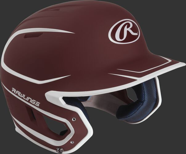 Right angle view of a matte MACH Senior batting helmet with a cardinal/white shell