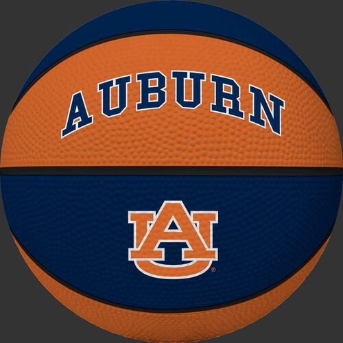 A NCAA Auburn Tigers basketball with blue and orange panels and team logo