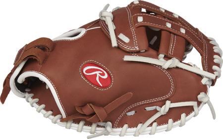 Thumb view of a brown R9SBCM33-24DB R9 Series 33-inch fastpitch catcher's mitt with a brown Modified H web