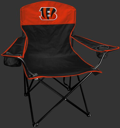 Front of Rawlings Black and Orange NFL Cincinnati Bengals Lineman Chair With Team Logo SKU #31021063111