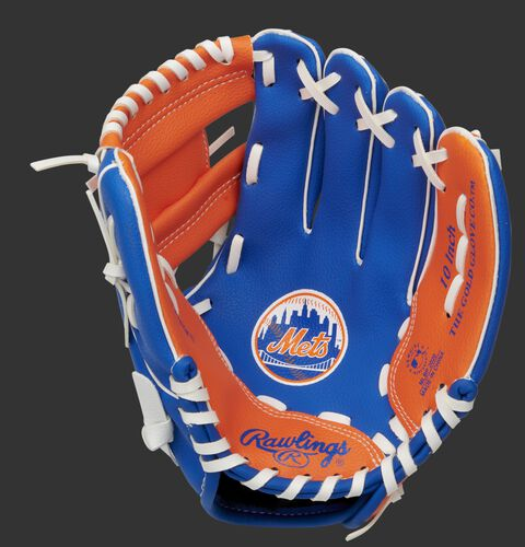 A blue/orange Rawlings New York Mets youth glove with a Mets logo stamped in the palm - SKU: 22000017111
