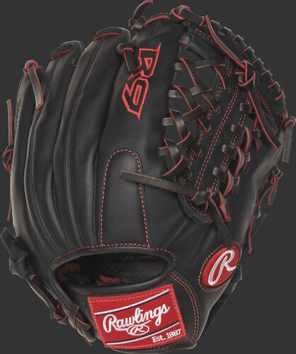 Back view of a R9YPT4-4B 11.5-inch R9 infield/pitcher's glove with a black back and designed with a youth pro taper fit