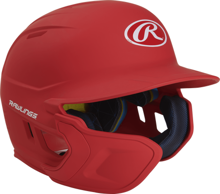 Right angle view of a matte scarlet MACHEXTL Mach Junior helmet with Mach EXT left hand batter face guard extension