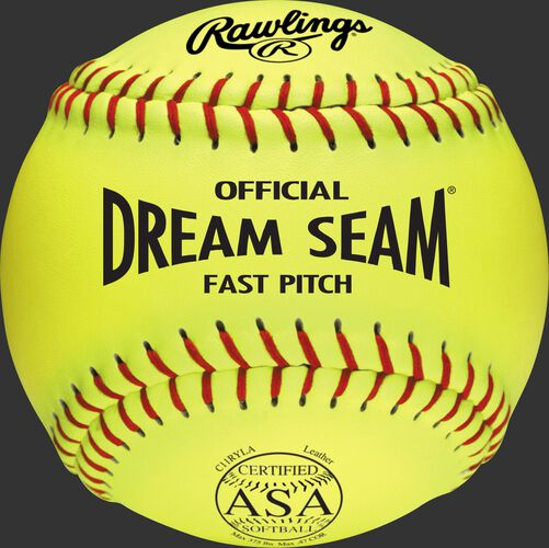 A yellow C11RYLA ASA NFHS official 11-inch softball with red stitching