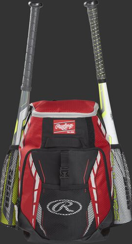A scarlet R400 youth players team backpack with a bat in each of the side compartments