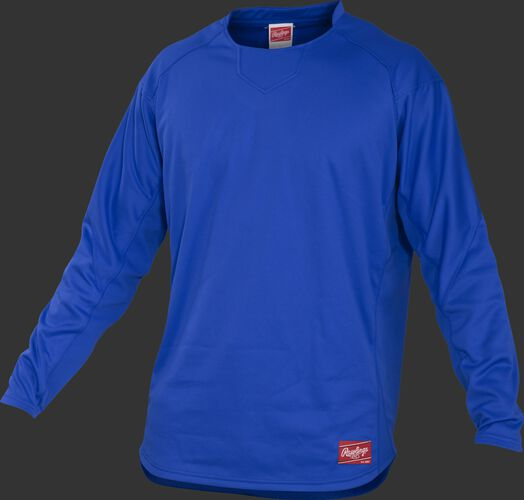 Front of Rawlings Royal Youth Long Sleeve Shirt - SKU #YUDFP3-B-88