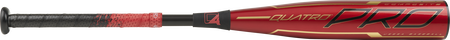 Barrel of a red UTZQ10 2020 Quatro Pro USSSA bat with black/gold accents