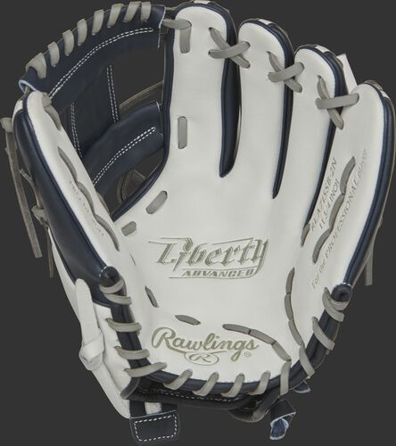 RLA715SB-2N Rawlings Liberty Advanced Color Series glove with a white palm, navy web and gray laces