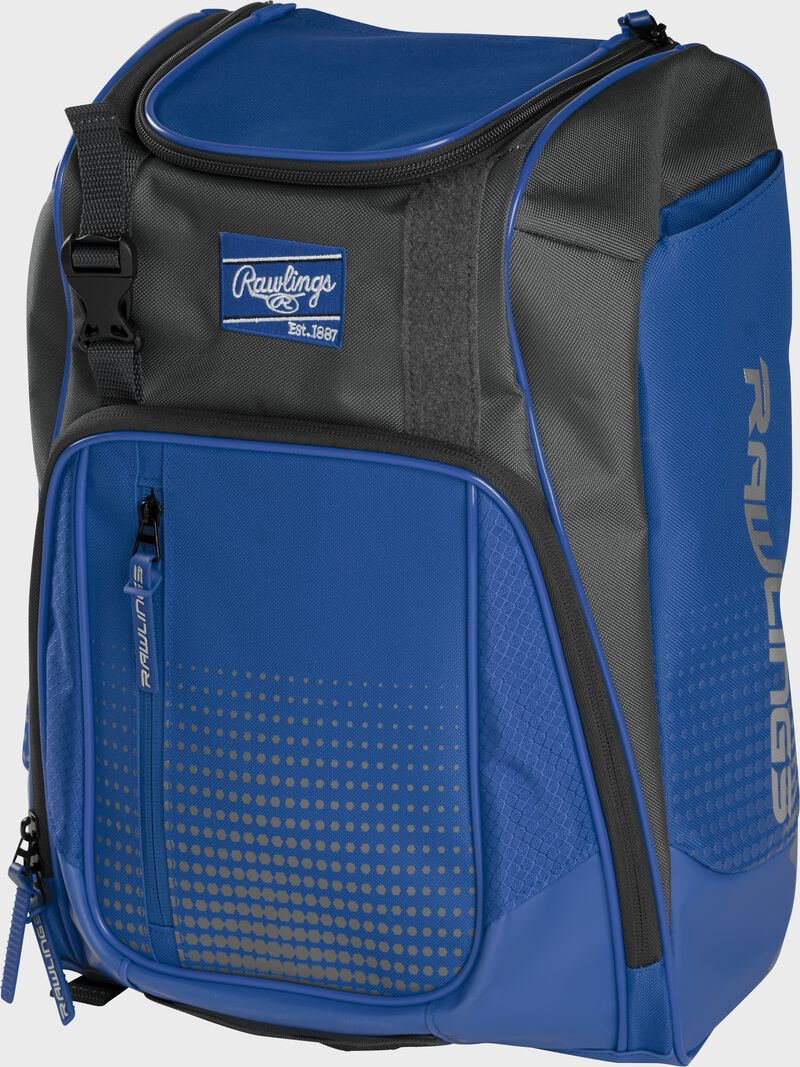 Front angle of a royal Franchise backpack with gray accents and royal Rawlings patch logo - SKU: FRANBP-R