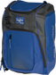 Front angle of a royal Franchise backpack with gray accents and royal Rawlings patch logo - SKU: FRANBP-R image number null