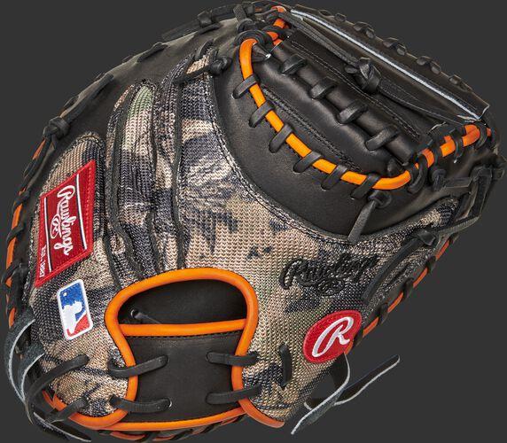 Camo mesh back of a Heart of the Hide 34-inch catcher's mitt - SKU: PROJB19PRO