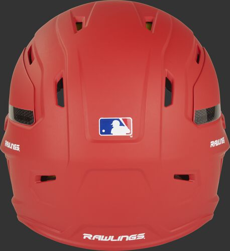 Back of a CAR07A high performance MACH Carbon helmet with a matte scarlet shell and Official Batting Helmet of MLB logo