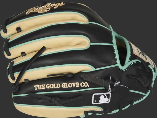 Black/camel fingers of a 2021 11.5-Inch HOH R2G glove with the MLB logo on the pinkie - SKU: PROR314-2CBM
