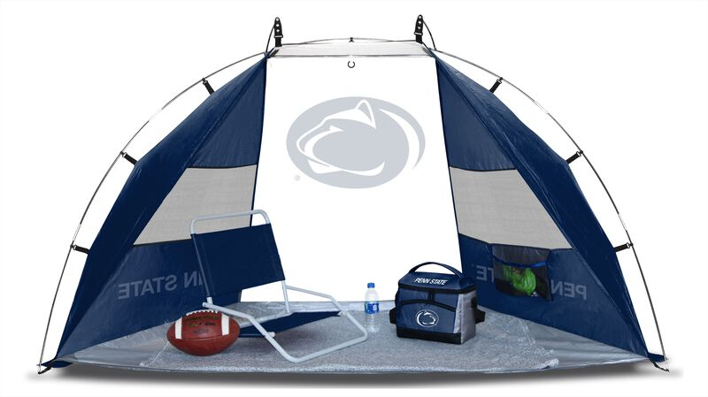 A Penn State Nittany Lions sideline sun shelter set up with a chair, cooler, football and water bottle - SKU: 00973050111