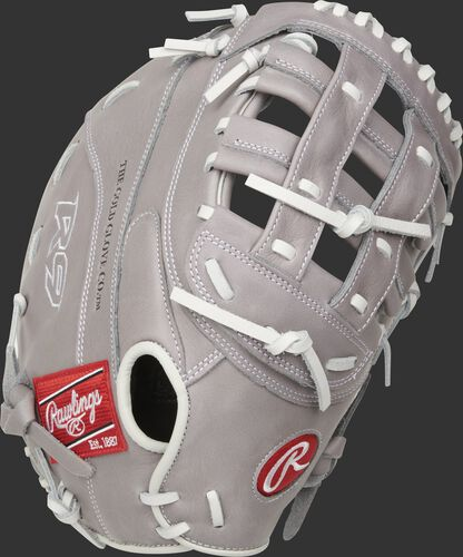 Gray back of a R9 Series 1st base softball mitt with an overlapping Fastback design - SKU: R9SBFBM-17G