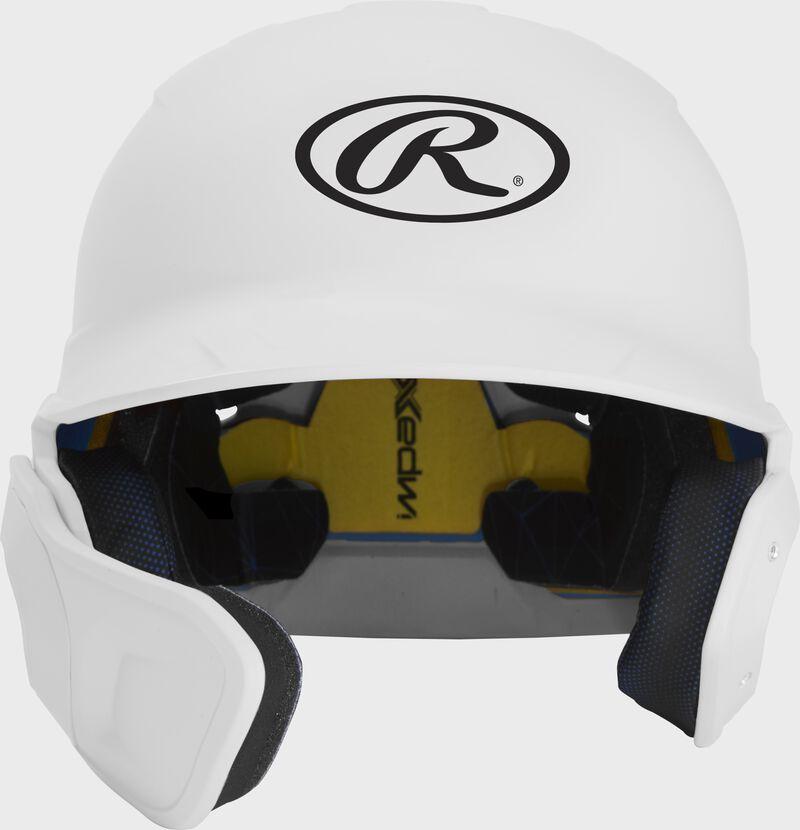 Front of a matte white MACHEXTL junior size Mach batting helmet with face guard extension for left hand batters