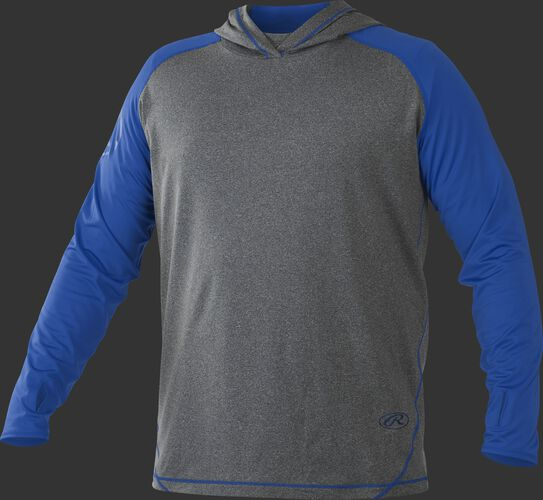 Front of Rawlings Royal/Gray Adult Hurler Lightweight Hoodie - SKU #HLWH-GR/B-88