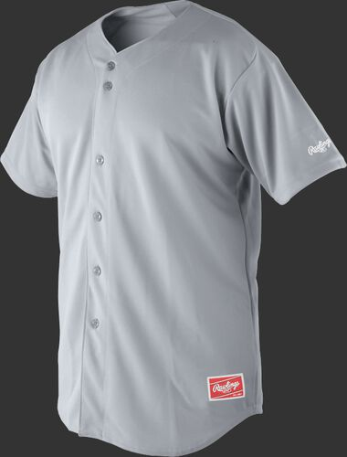 Front of Rawlings Blue Gray Adult Short Sleeve Jersey  - SKU #RBJ150