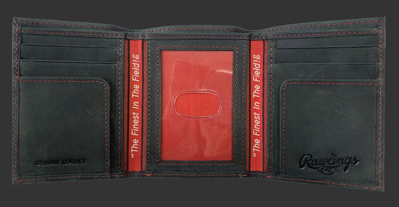 Inside of a black tri-fold high grade debossed wallet with a clear ID window in the center - SKU: RPW005-001