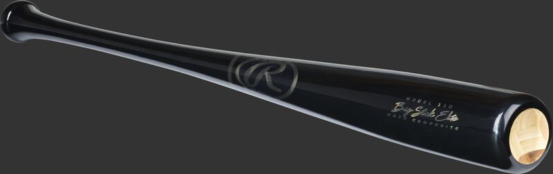 Angled view of a black Big Stick Elite wood composite baseball bat with a cupped end - SKU: 110CMB