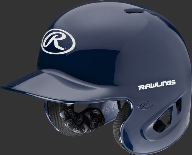 A navy S90PA RPR high schoole/college batting helmet with a white Oval R logo on the front