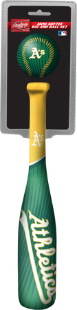Rawlings Oakland Athletics Softee Mini Bat and Ball Set in Team Colors With Team Name and Logo On Front SKU #01160003114