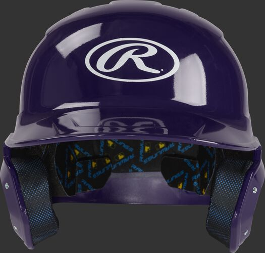 Front of a purple MCH01A Mach batting helmet with an Oval R logo