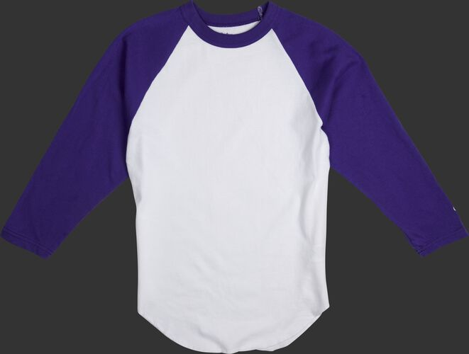 MTT3000 Adult 3/4 sleeve crew neck shirt with a white body and purple sleeves