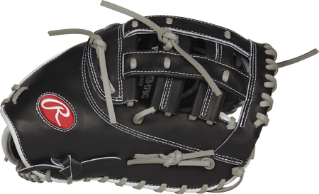 Thumb view of a black Heart of the Hide 12.5-inch fastpitch first base mitt with a black Modified H web