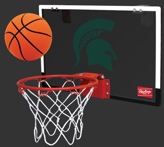 A NCAA Michigan State Spartans Game On hoop set with a rubber ball and team logo printed on the backboard SKU #00673038111