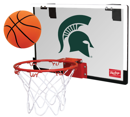 A NCAA Michigan State Spartans Game On hoop set with a rubber ball and team logo printed on the backboard