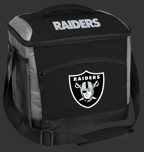 A black Las Vegas Raiders 24 can soft sided cooler with screen printed team logos - SKU: 10211072111