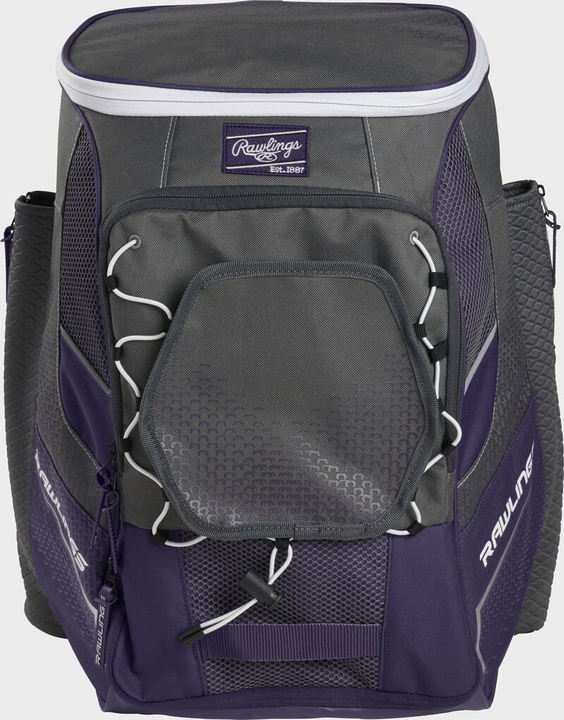 Front of a purple Impulse baseball backpack with a gray front pocket - SKU: IMPLSE-PU